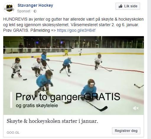 En annonse fra Facebook for Stavanger Hockey