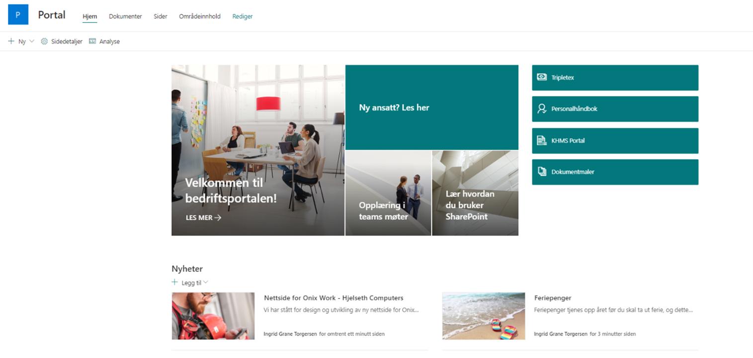 Eksempel på portal der man enkelt kan navigere gjennom relevant informasjon, nyhetsfeed og nyttige lenker.